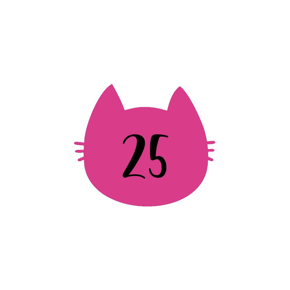 Numéro fantaisie personnalisable pour boite aux lettres couleur rose chiffres noirs - Modèle Chat