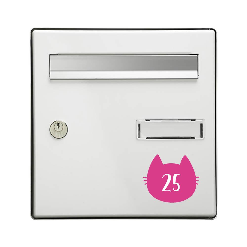Numéro fantaisie personnalisable pour boite aux lettres couleur rose chiffres blancs - Modèle Chat