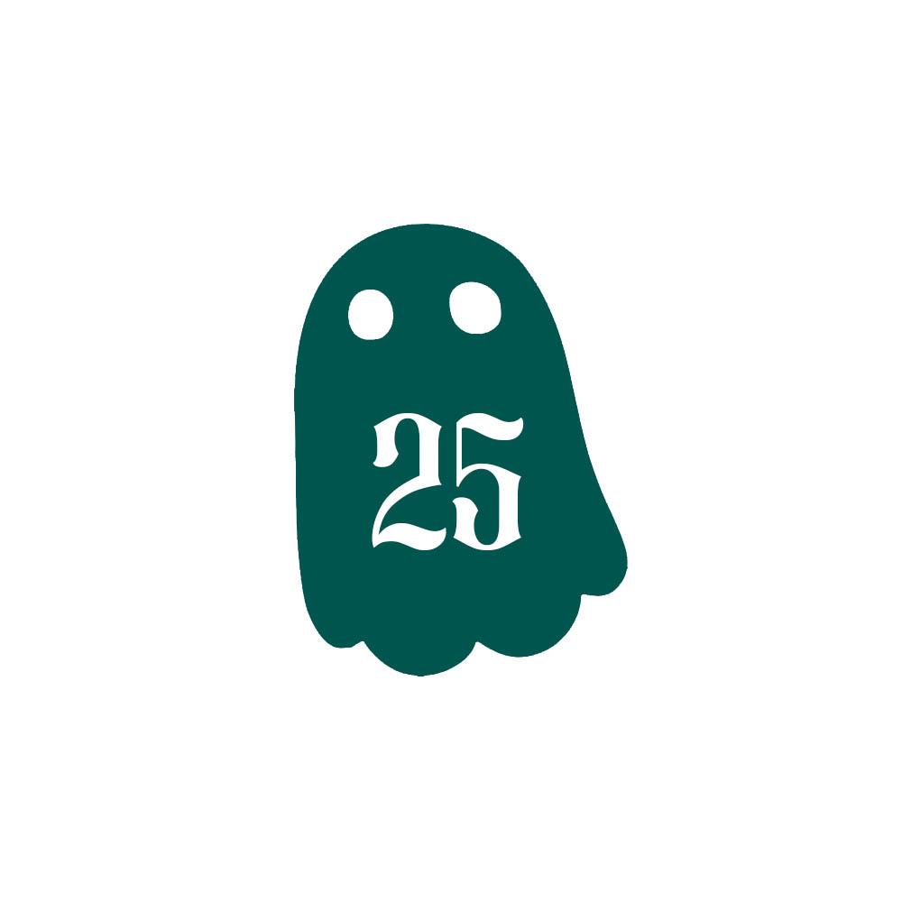 Numéro fantaisie personnalisable pour boite aux lettres couleur vert foncé chiffres blancs - Modèle Fantôme