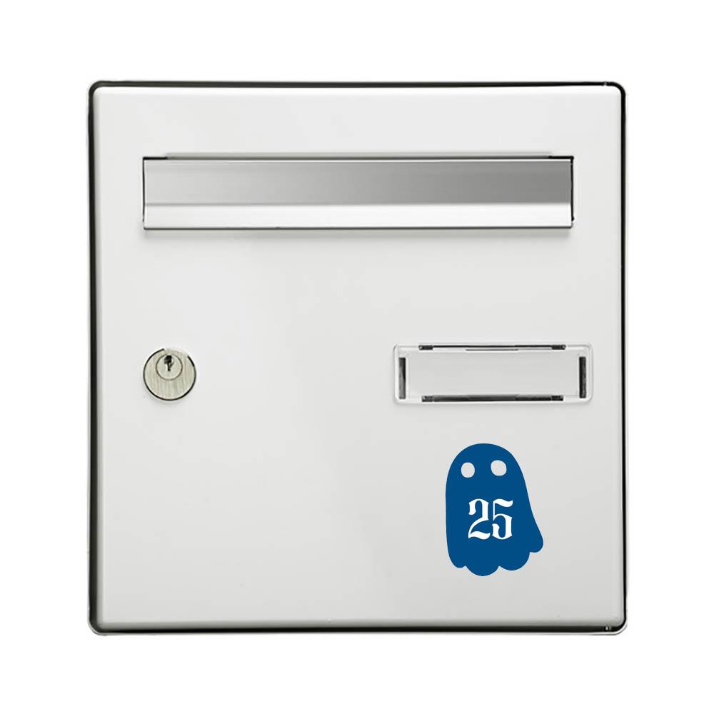 Numéro fantaisie personnalisable pour boite aux lettres couleur bleu chiffres blancs - Modèle Fantôme