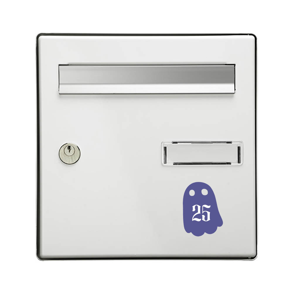 Numéro fantaisie personnalisable pour boite aux lettres couleur violet chiffres blancs - Modèle Fantôme
