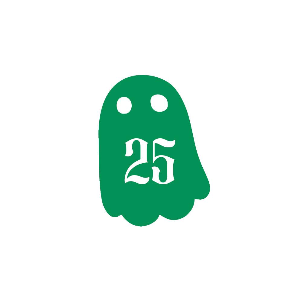 Numéro fantaisie personnalisable pour boite aux lettres couleur vert pomme chiffres blancs - Modèle Fantôme