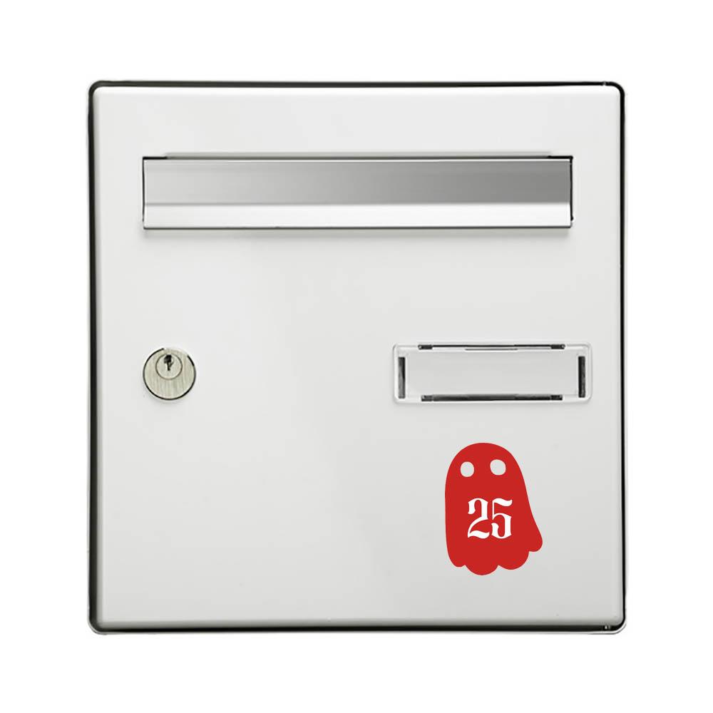 Numéro fantaisie personnalisable pour boite aux lettres couleur rouge chiffres blancs - Modèle Fantôme