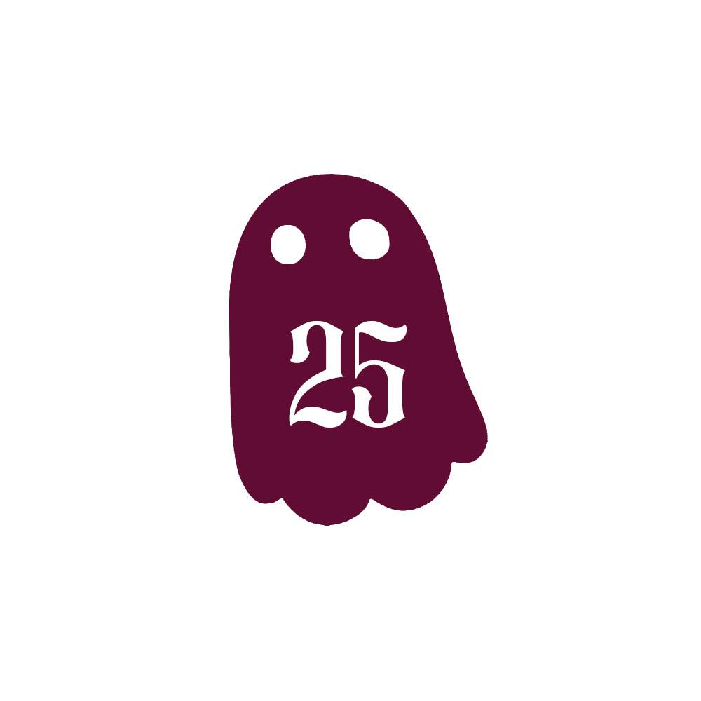 Numéro fantaisie personnalisable pour boite aux lettres couleur bordeaux chiffres blancs - Modèle Fantôme
