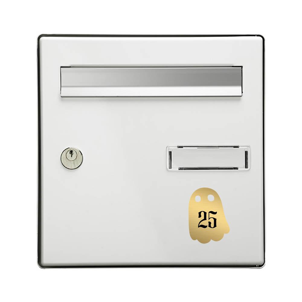 Numéro fantaisie personnalisable pour boite aux lettres couleur or brossé chiffres noirs - Modèle Fantôme