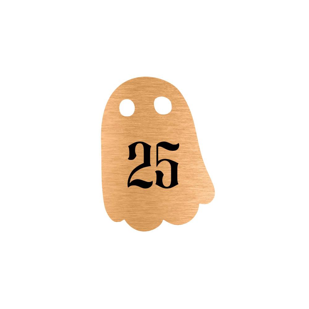 Numéro fantaisie personnalisable pour boite aux lettres couleur cuivre chiffres noirs - Modèle Fantôme