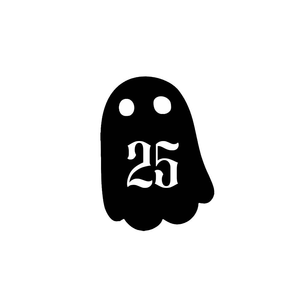 Numéro fantaisie personnalisable pour boite aux lettres couleur noir chiffres blancs - Modèle Fantôme