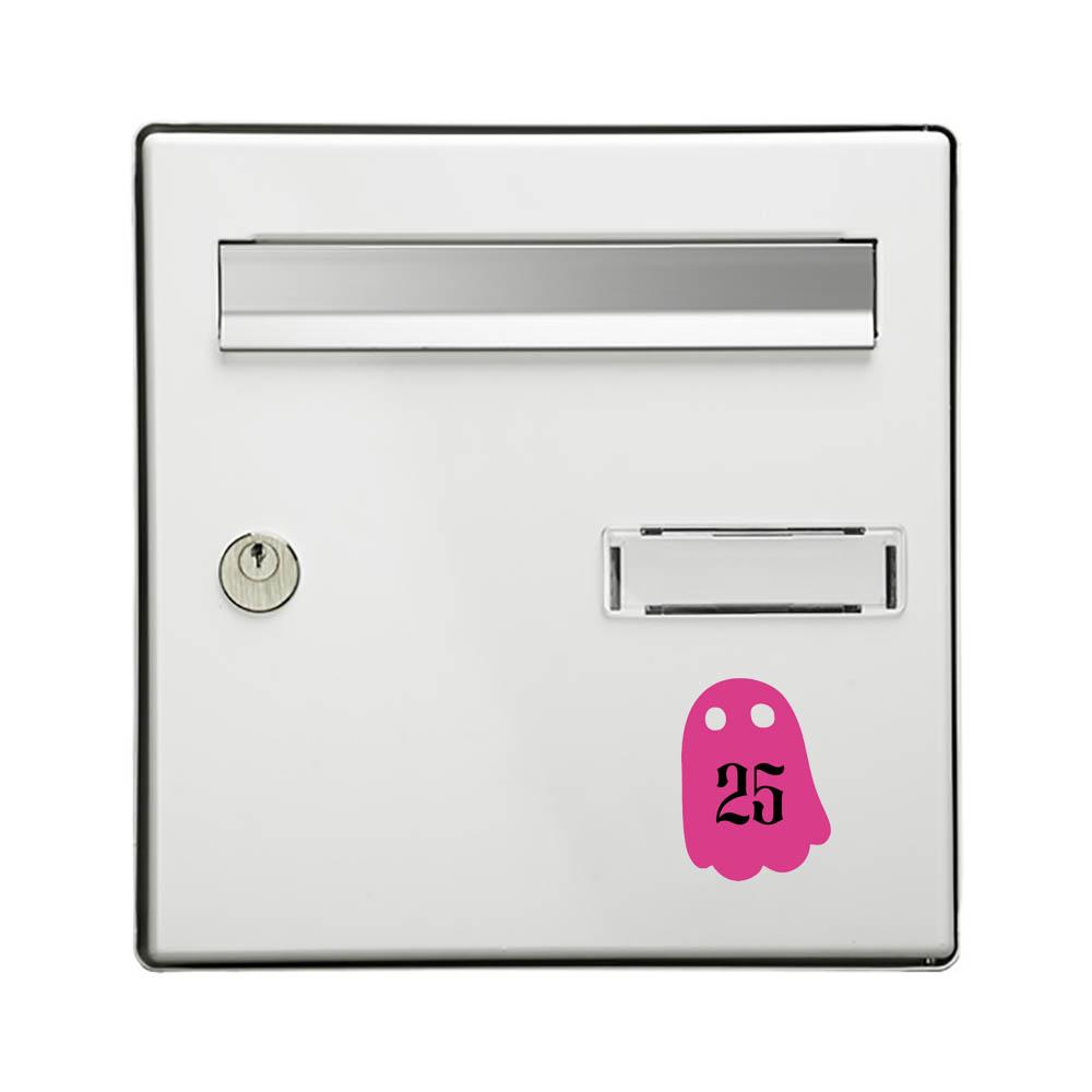 Numéro fantaisie personnalisable pour boite aux lettres couleur rose chiffres noirs - Modèle Fantôme