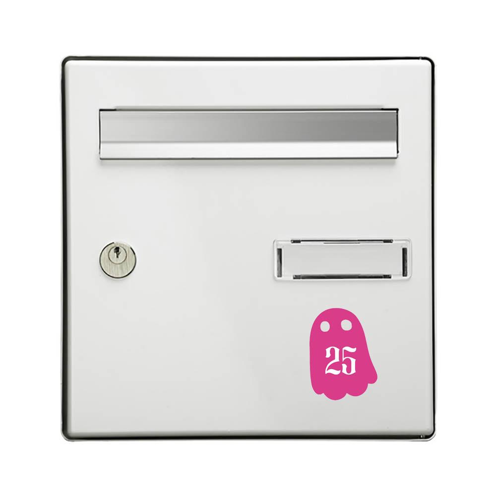 Numéro fantaisie personnalisable pour boite aux lettres couleur rose chiffres blancs - Modèle Fantôme
