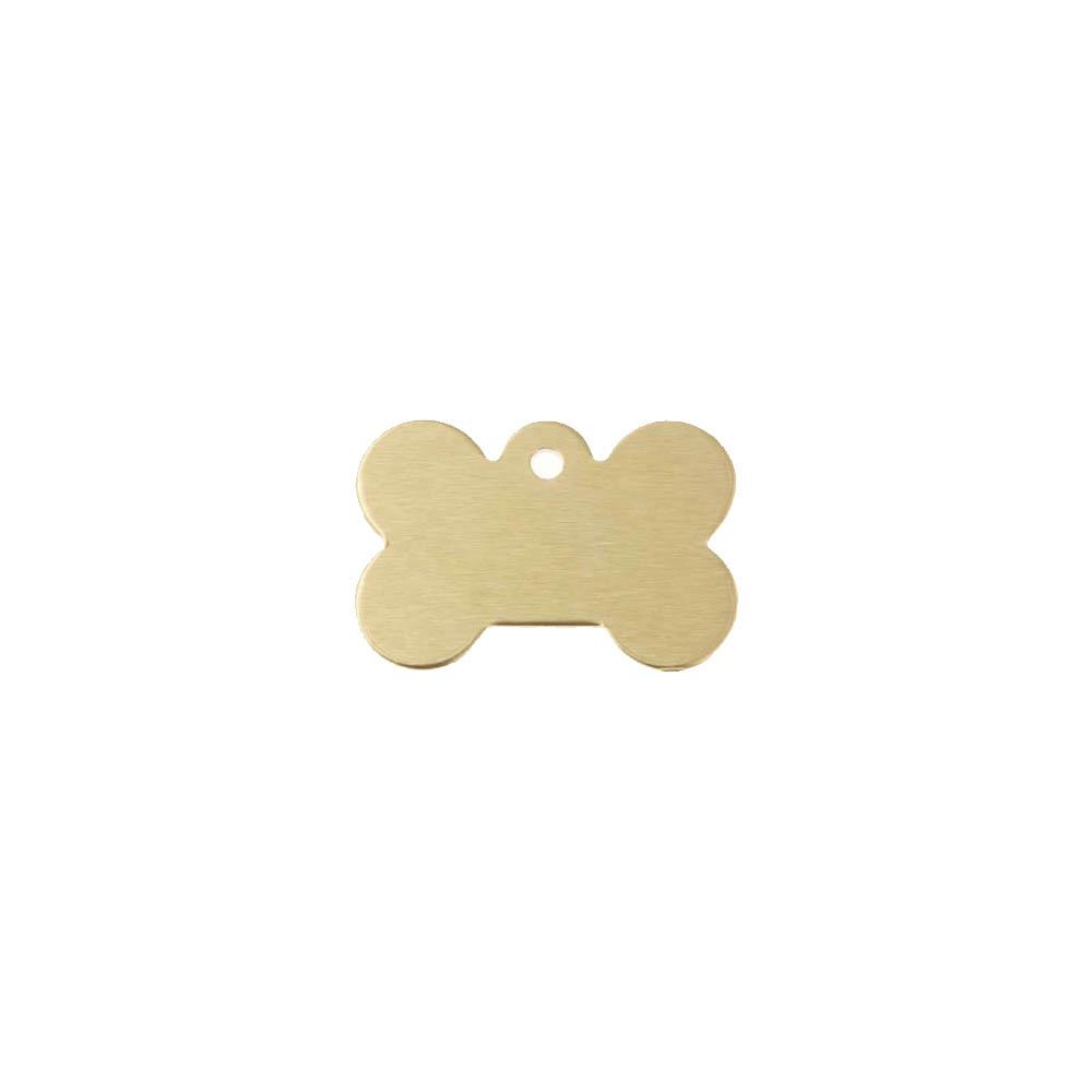 Médaillon Or en forme d'os pour chien à personnaliser sur 1 à 2 lignes - Petit format 20x30 mm