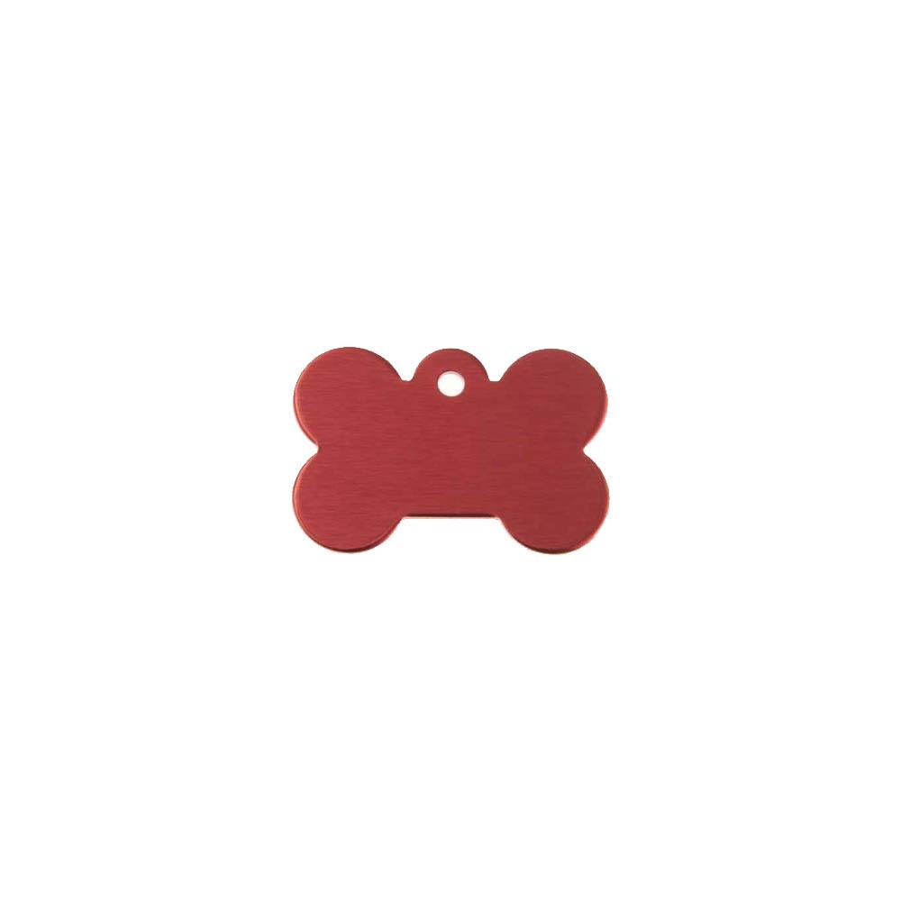 Médaillon Rouge en forme d'os pour chien à personnaliser sur 1 à 2 lignes - Petit format 20x30 mm