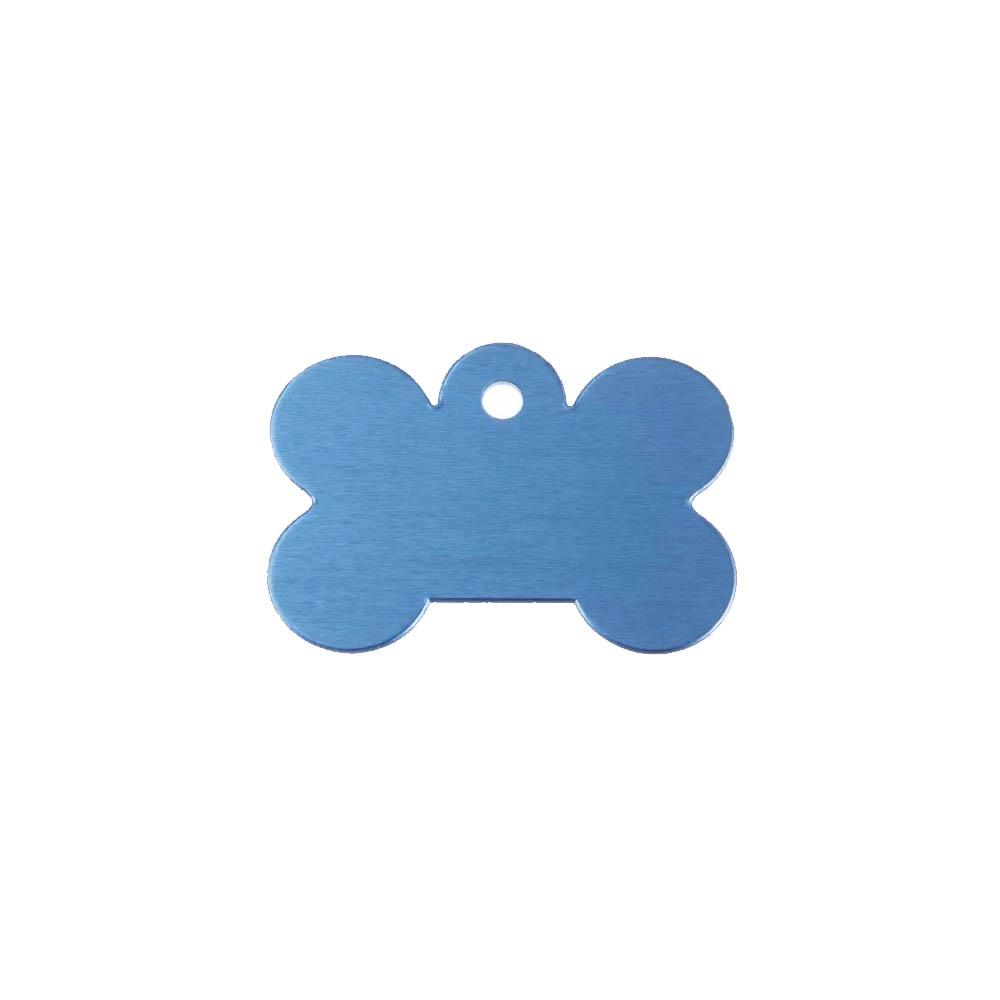 Médaillon en forme d'os Bleu pour chien avec gravure personnalisée 1 à 2 lignes - Grand format 28x40 mm