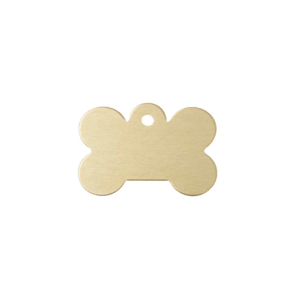 Médaillon en forme d'os Or pour chien avec gravure personnalisée 1 à 2 lignes - Grand format 28x40 mm
