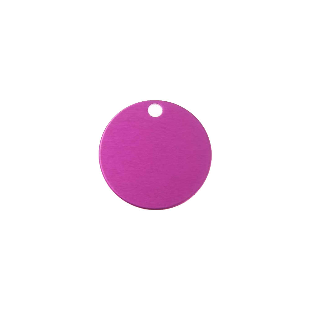 Grande médaille ronde Rose pour chien et chat avec gravure personnalisée 1 à 2 lignes - Diamètre 32 mm