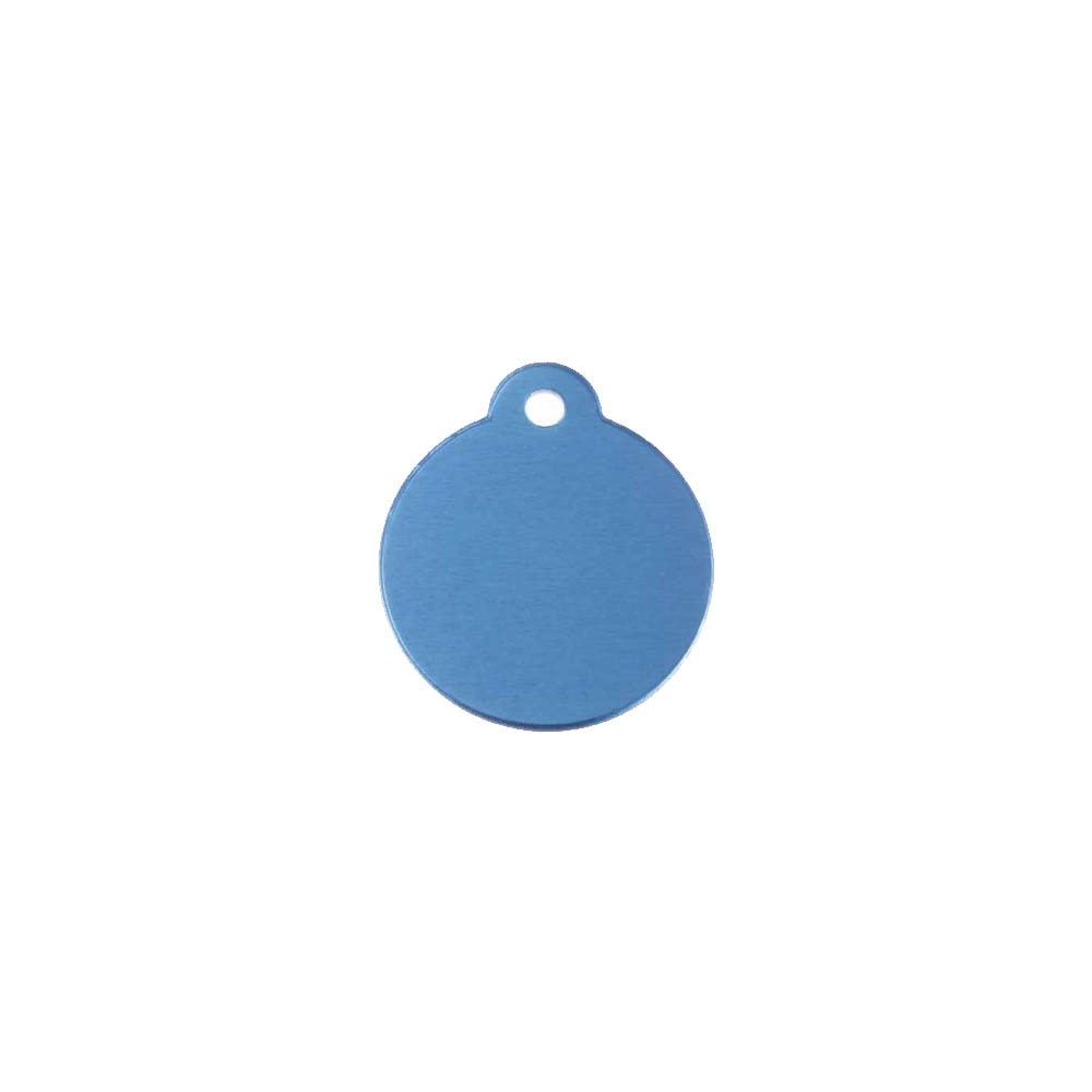 Médaillon rond Classic Bleu pour chien ou chat à personnaliser par gravure - 1 à 2 lignes - Diamètre 27 mm