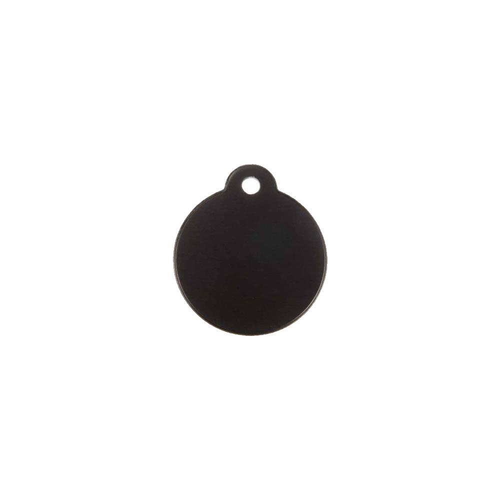 Médaillon rond Classic Noir pour chien ou chat à personnaliser par gravure - 1 à 2 lignes - Diamètre 27 mm