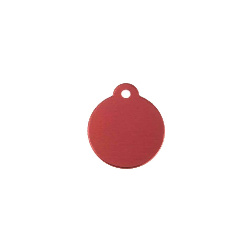 Médaillon rond Classic Rouge pour chien ou chat à personnaliser par gravure - 1 à 2 lignes - Diamètre 27 mm