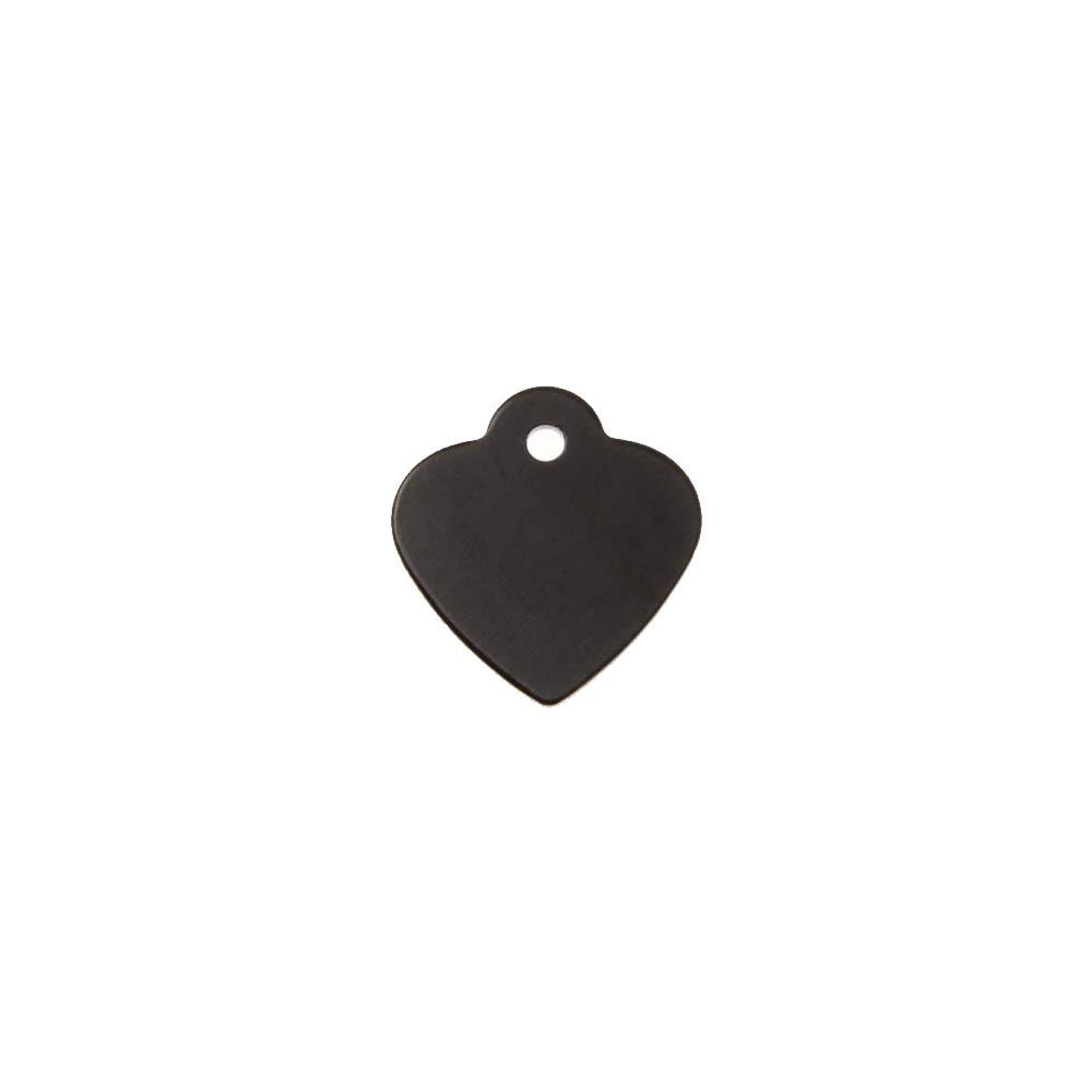 Petite médaille Noire en forme de coeur 25 mm pour animal (chien ou chat) personnalisation 1 à 2 lignes