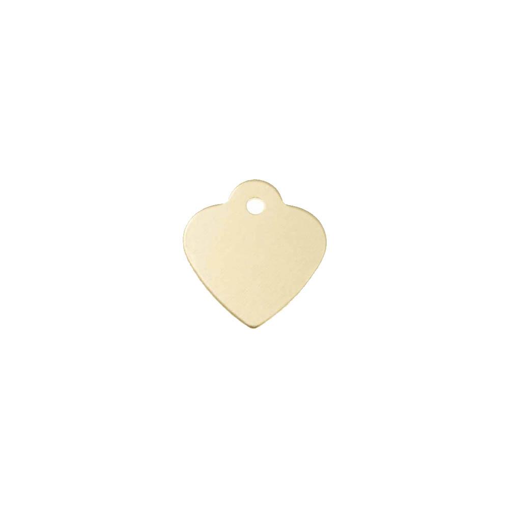 Petite médaille Or en forme de coeur 25 mm pour animal (chien ou chat) personnalisation 1 à 2 lignes