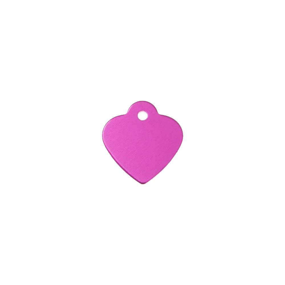 Petite médaille Rose en forme de coeur 25 mm pour animal (chien ou chat) personnalisation 1 à 2 lignes