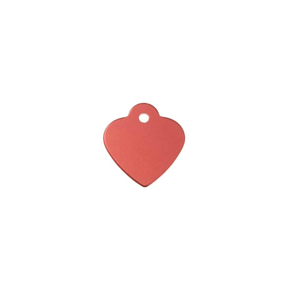Petite médaille Rouge en forme de coeur 25 mm pour animal (chien ou chat) personnalisation 1 à 2 lignes