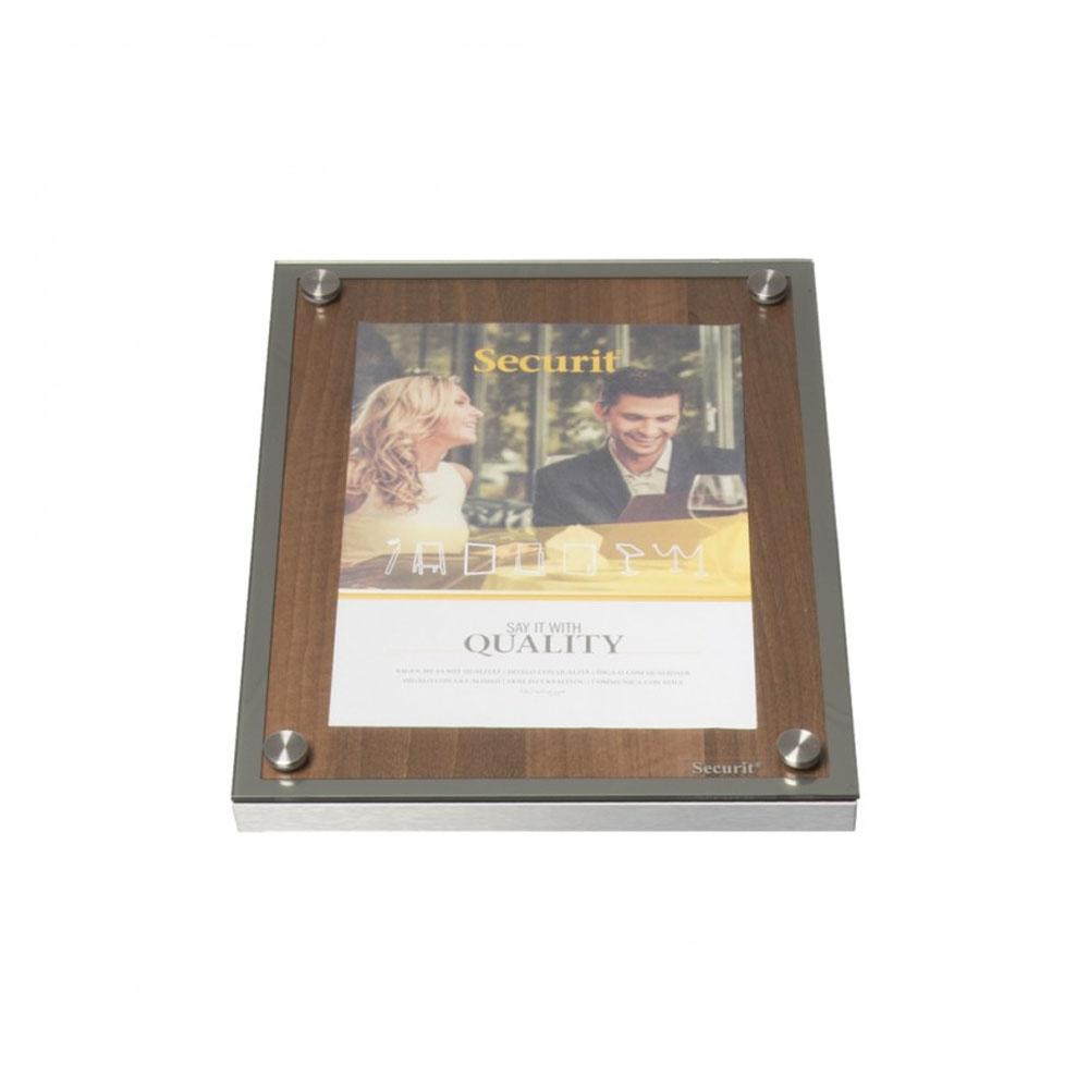 Porte menu 1 x A4 Glass Star en bois aspect noyer - Support menu hôtel restaurant