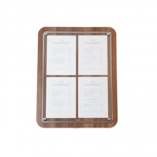 Porte menu 4 x A4 Glass Star aspect noyer - Support menu hôtel restaurant
