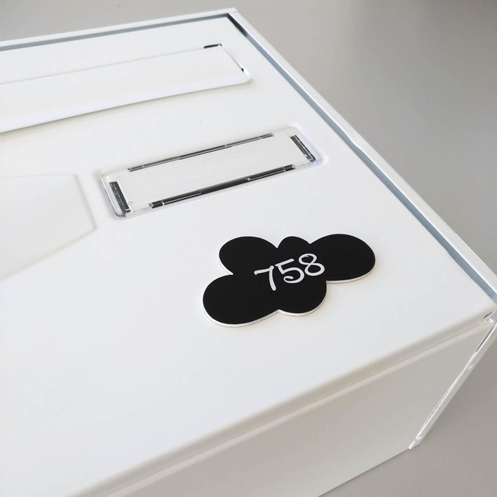 Numéro fantaisie personnalisable pour boite aux lettres couleur rose chiffres noirs - Modèle Nuage