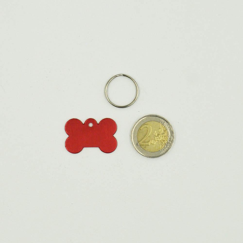 Médaillon Rose en forme d'os pour chien à personnaliser sur 1 à 2 lignes - Petit format 20x30 mm