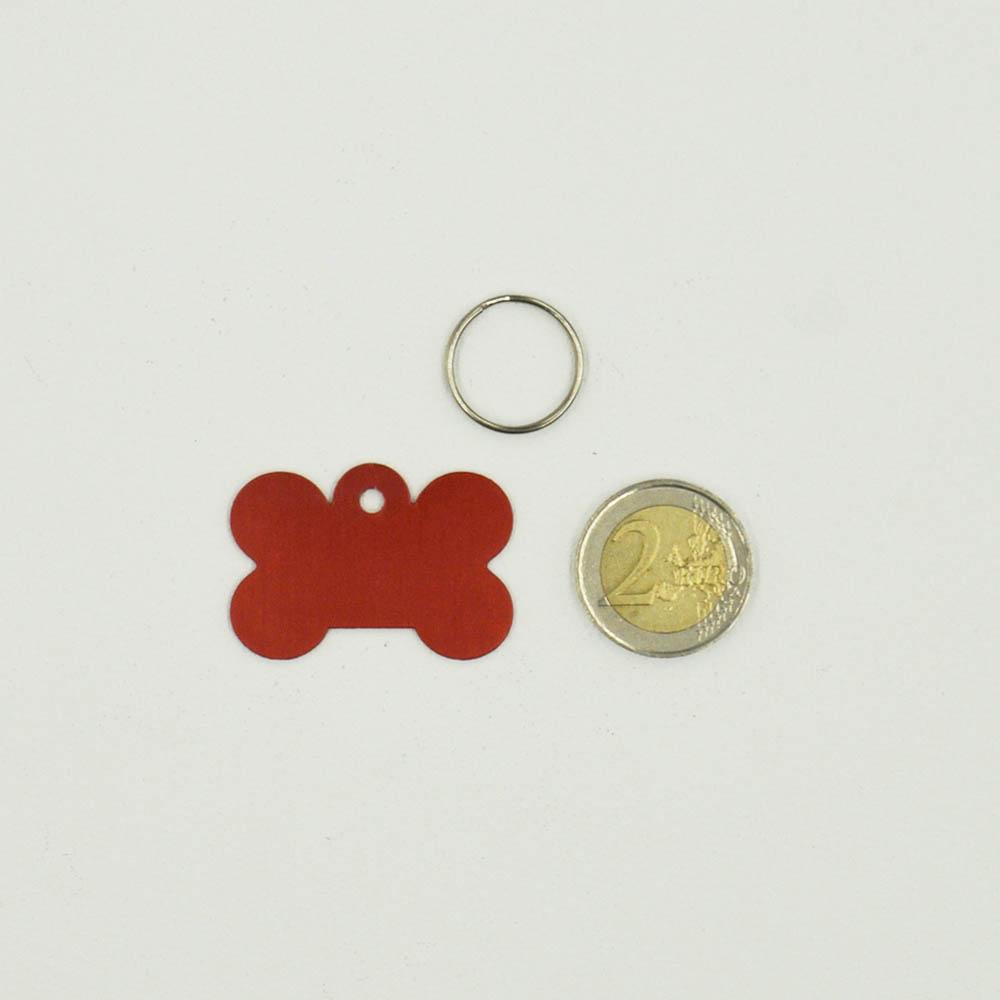 Médaillon en forme d'os Rose pour chien avec gravure personnalisée 1 à 2 lignes - Grand format 28x40 mm