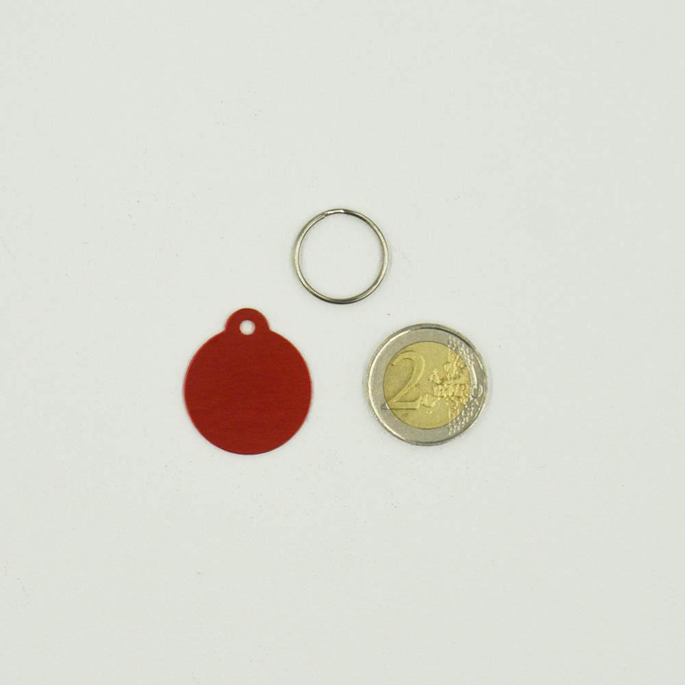 Médaillon rond Classic Rose pour chien ou chat à personnaliser par gravure - 1 à 2 lignes - Diamètre 27 mm