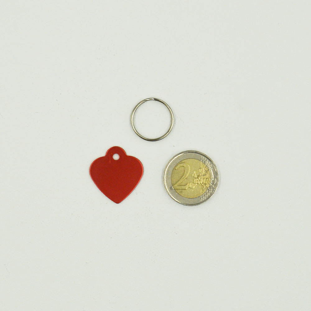 Petite médaille Rouge en forme de cœur 25 mm pour animal (chien ou chat) personnalisation 1 à 2 lignes