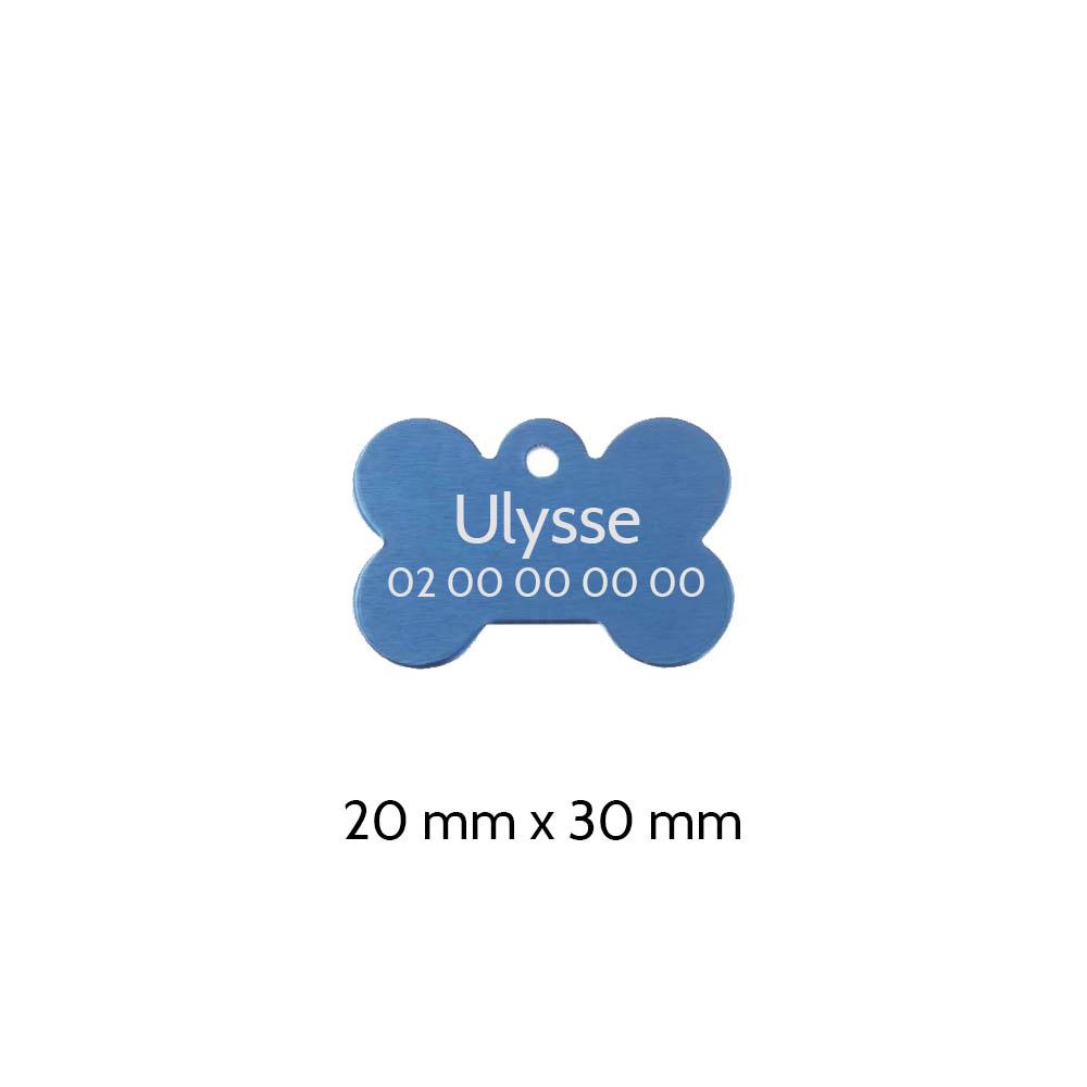 Médaillon Bleu en forme d'os pour chien à personnaliser sur 1 à 2 lignes - Petit format 20x30 mm