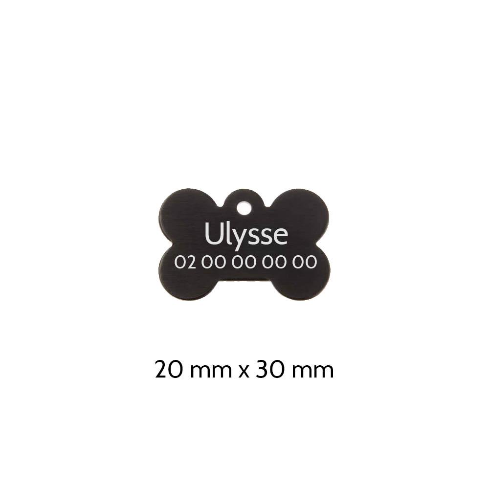 Médaillon Noir en forme d'os pour chien à personnaliser sur 1 à 2 lignes - Petit format 20x30 mm