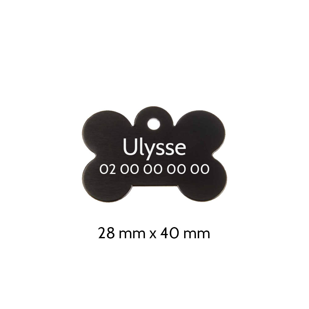 Médaillon en forme d'os Noir pour chien avec gravure personnalisée 1 à 2 lignes - Grand format 28x40 mm