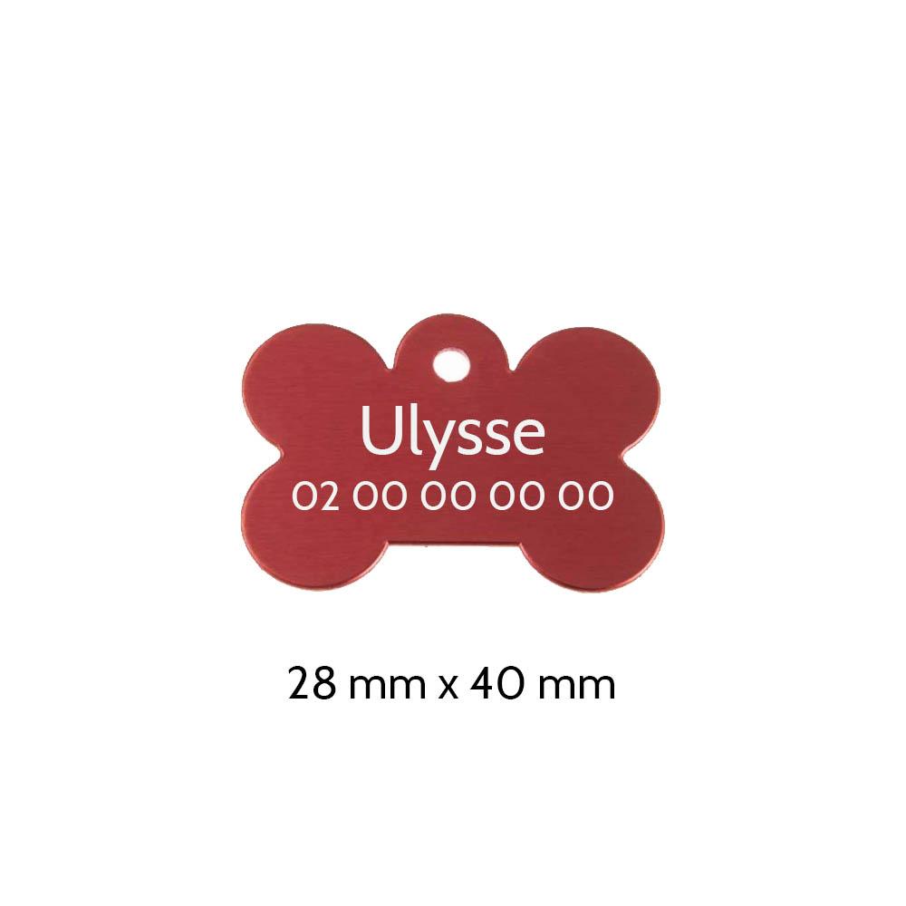 Médaillon en forme d'os Rouge pour chien avec gravure personnalisée 1 à 2 lignes - Grand format 28x40 mm