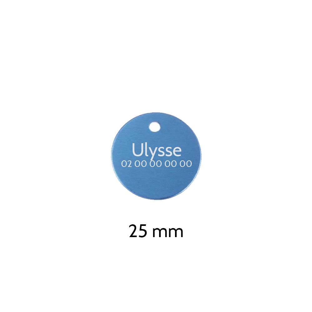 Petite médaille ronde Bleue pour chien et chat à personnaliser sur 1 à 2 lignes - Diamètre 25 mm