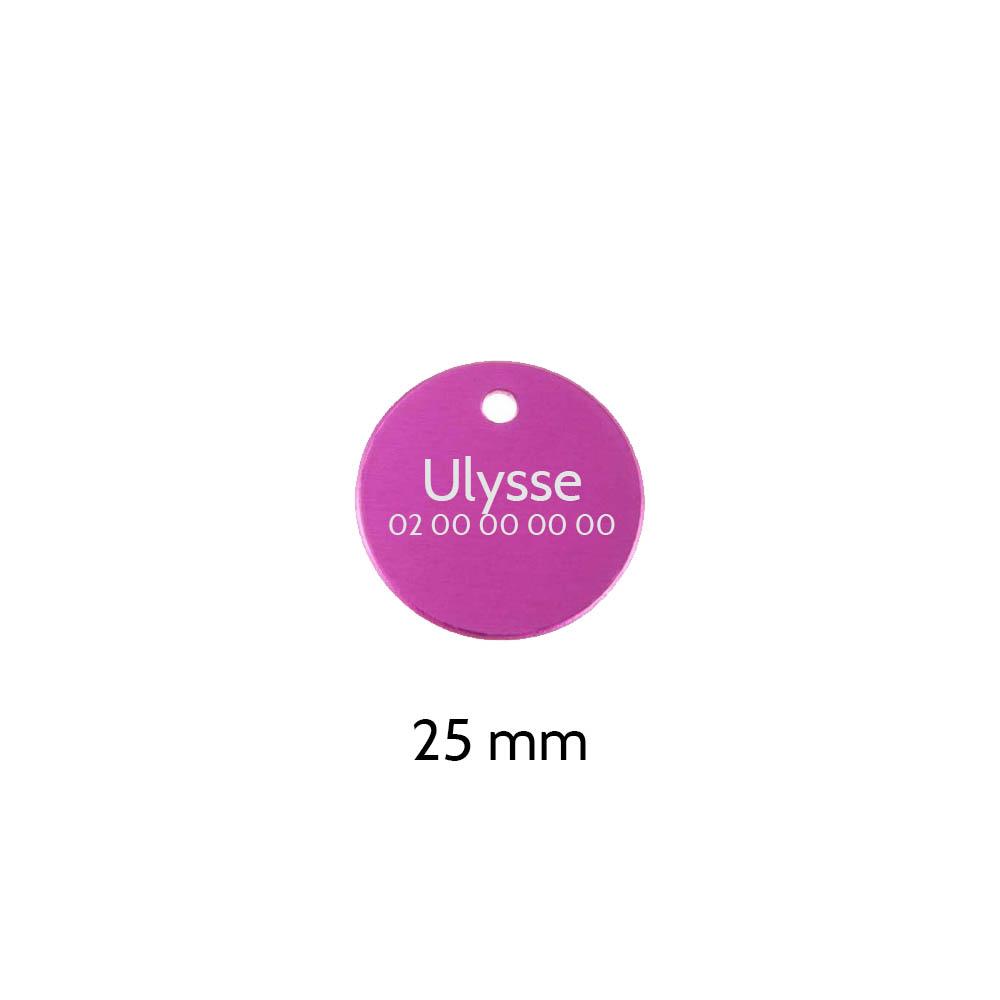 Petite médaille ronde Rose pour chien et chat à personnaliser sur 1 à 2 lignes - Diamètre 25 mm