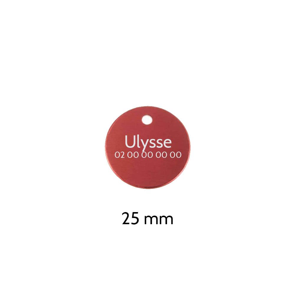 Petite médaille ronde Rouge pour chien et chat à personnaliser sur 1 à 2 lignes - Diamètre 25 mm