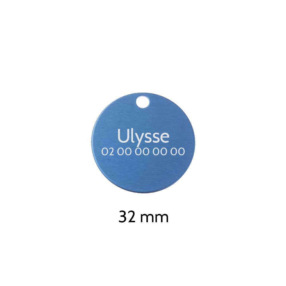 Grande médaille ronde Bleue pour chien et chat avec gravure personnalisée 1 à 2 lignes - Diamètre 32 mm