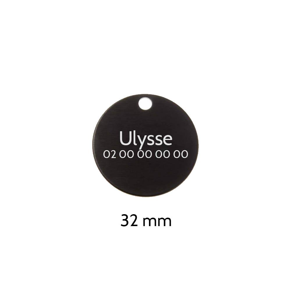 Grande médaille ronde Noire pour chien et chat avec gravure personnalisée 1 à 2 lignes - Diamètre 32 mm