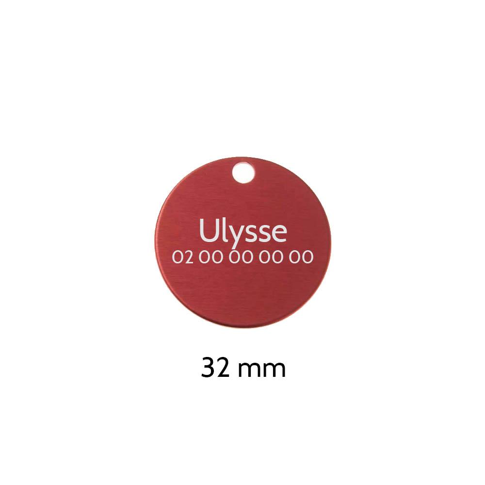 Grande médaille ronde Rouge pour chien et chat avec gravure personnalisée 1 à 2 lignes - Diamètre 32 mm