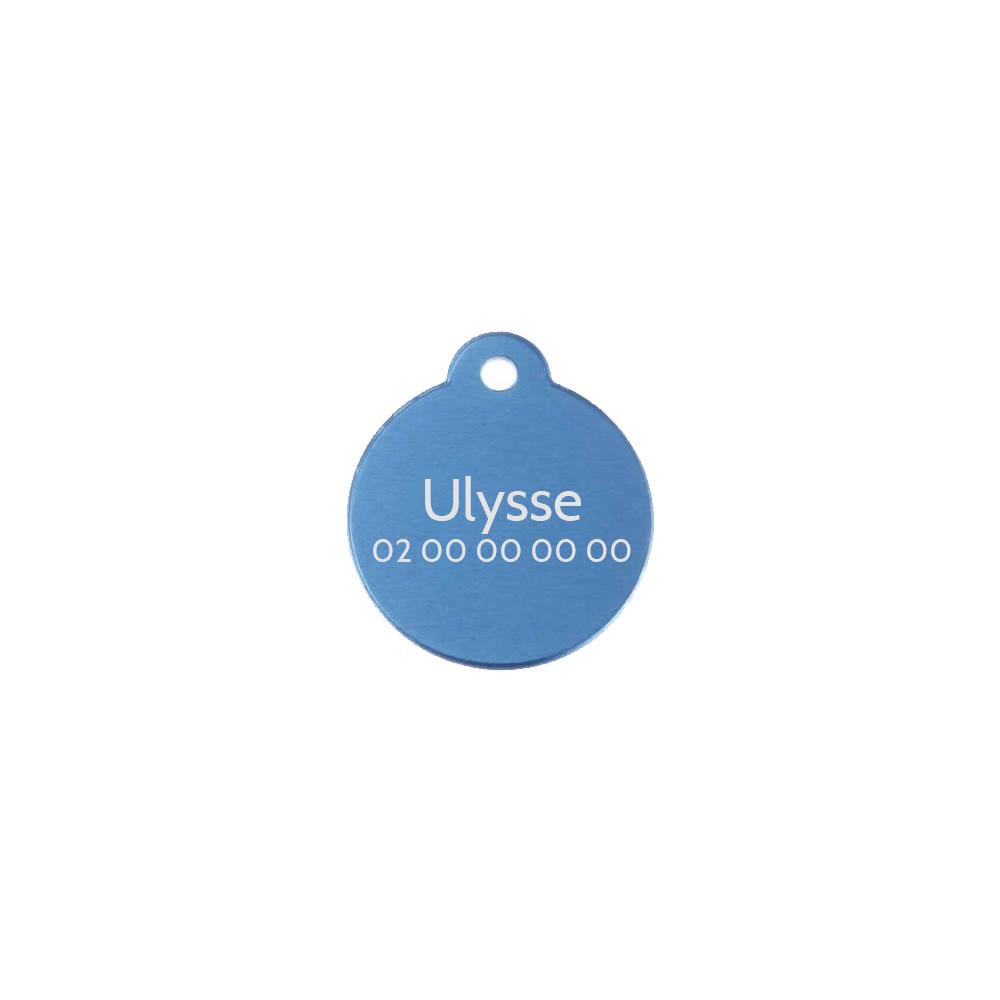 Médaille ronde Classic Bleu pour chien ou chat à personnaliser par gravure - 1 à 2 lignes - Diamètre 27 mm