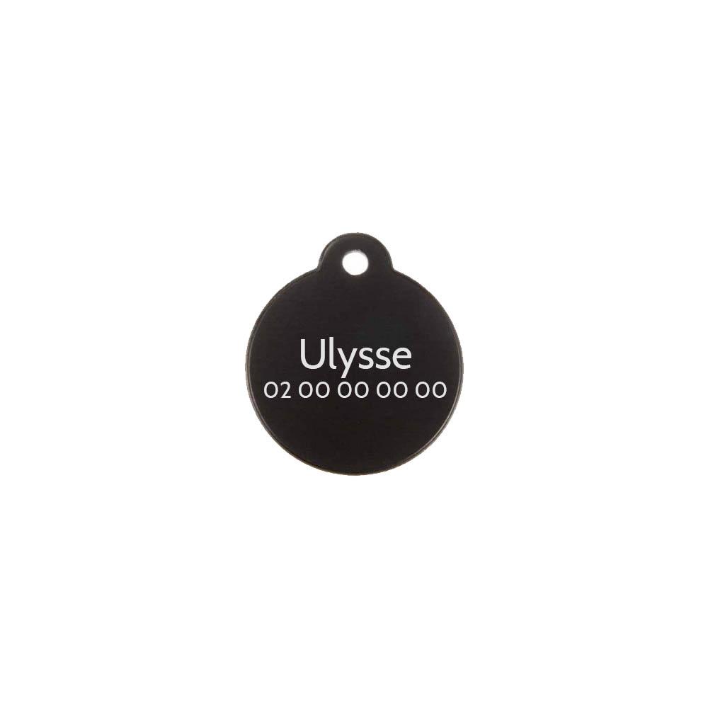 Médaille ronde Classic Noir pour chien ou chat à personnaliser par gravure - 1 à 2 lignes - Diamètre 27 mm