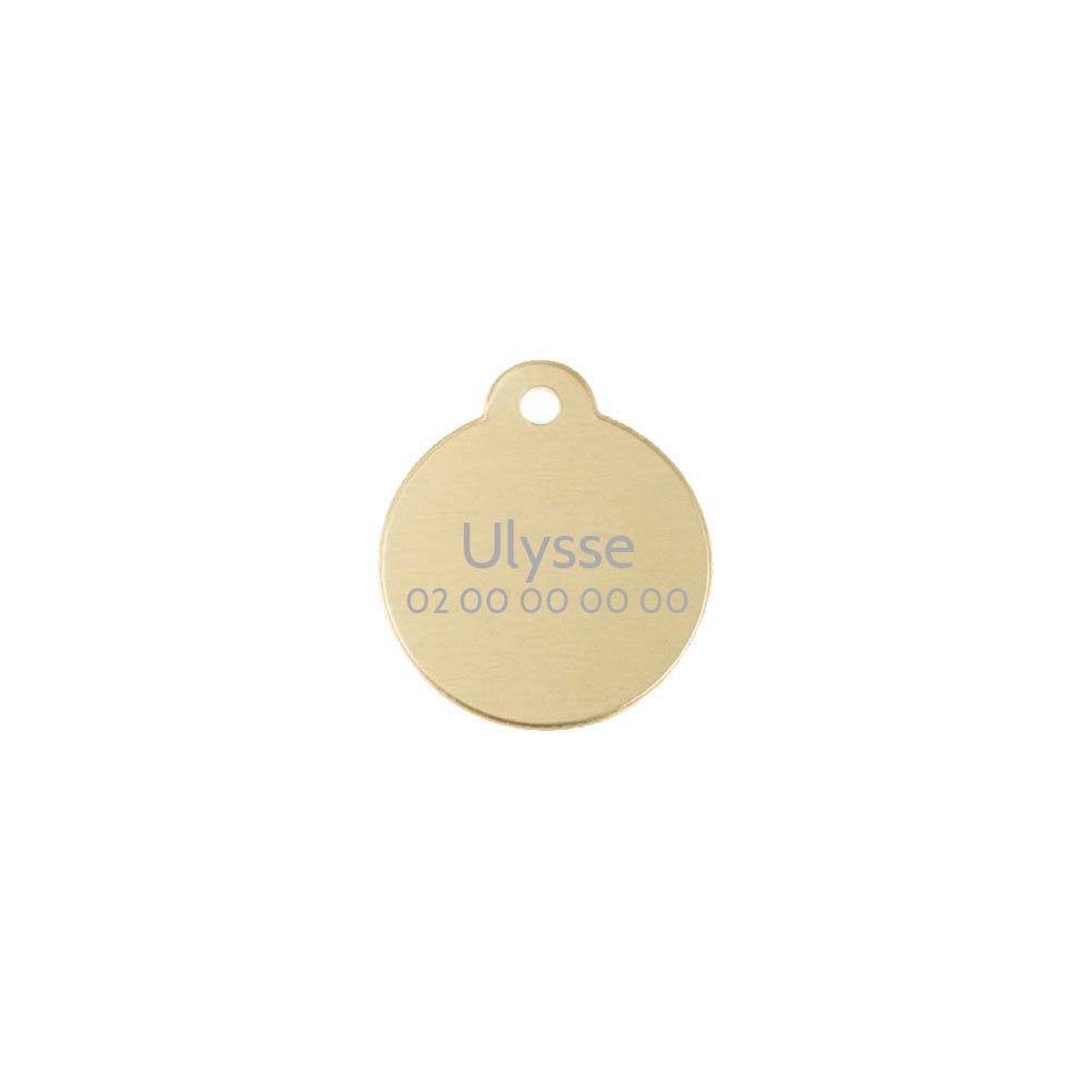 Médaille ronde Classic Or pour chien ou chat à personnaliser par gravure - 1 à 2 lignes - Diamètre 27 mm