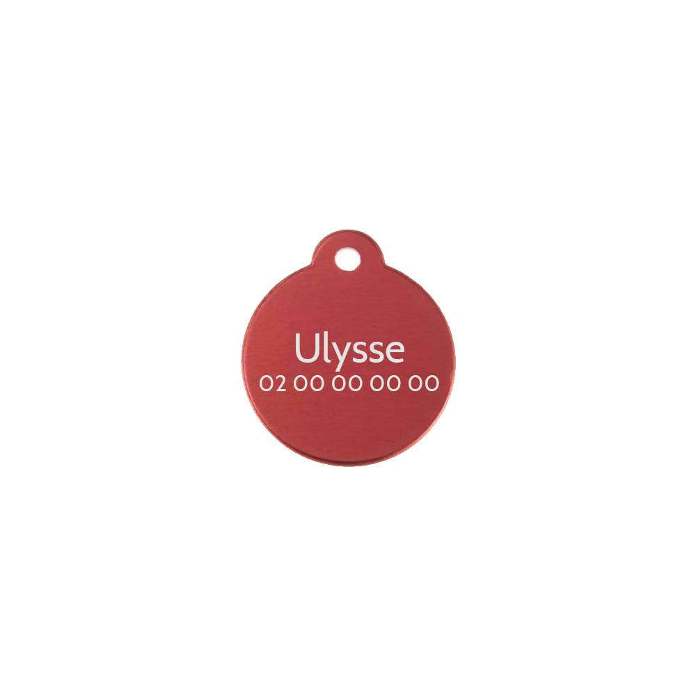 Médaille ronde Classic Rouge pour chien ou chat à personnaliser par gravure - 1 à 2 lignes - Diamètre 27 mm