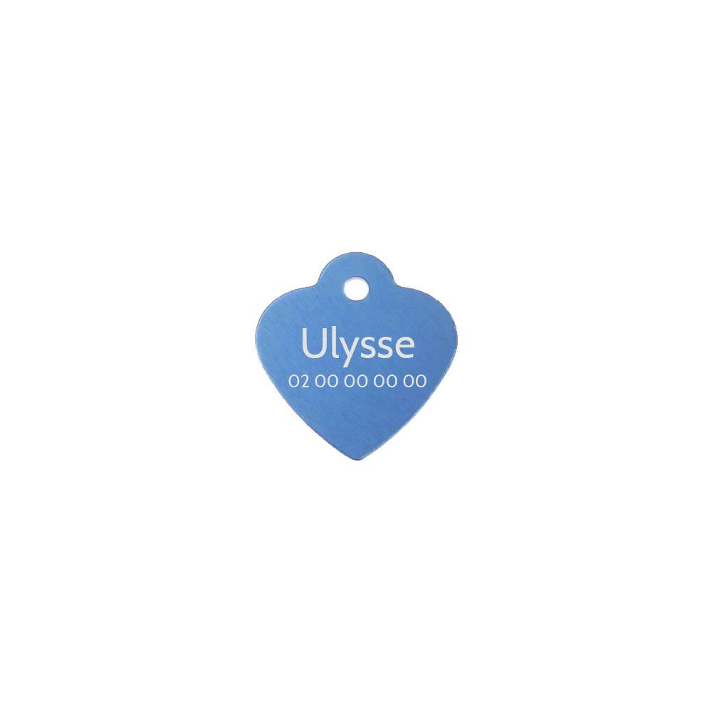 Petite médaille Bleue en forme de cœur 25 mm pour animal (chien ou chat) personnalisation 1 à 2 lignes