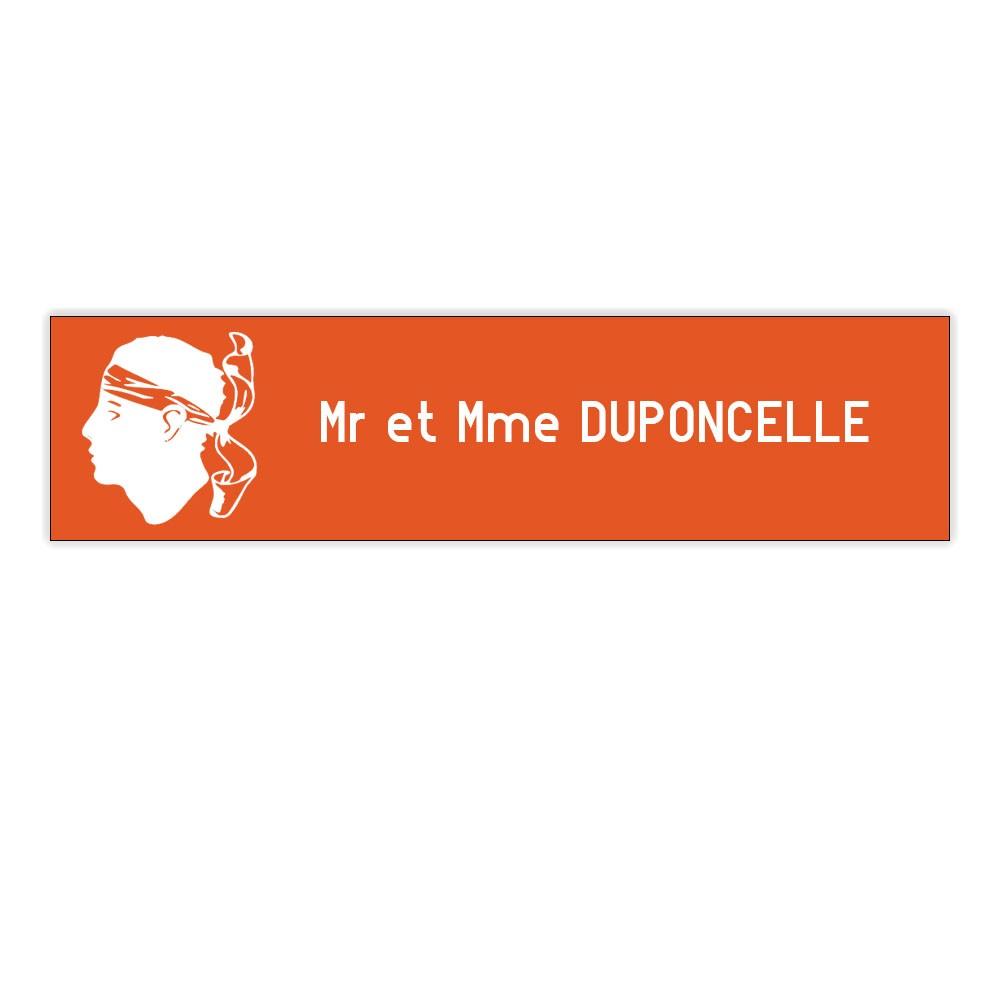Plaque boite aux lettres Decayeux CORSE (100x25mm) orange lettres blanches - 1 ligne