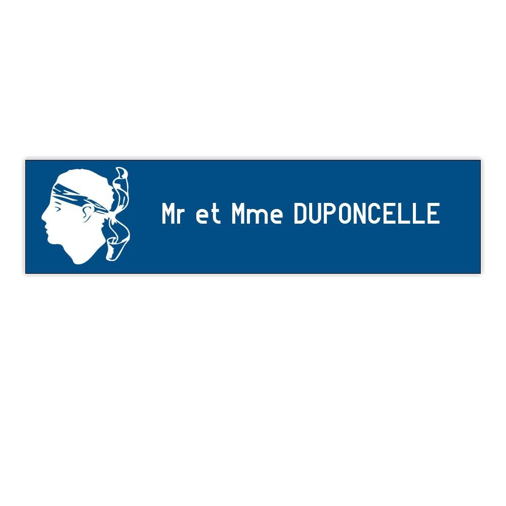 Plaque boite aux lettres Decayeux CORSE (100x25mm) bleue lettres blanches - 1 ligne