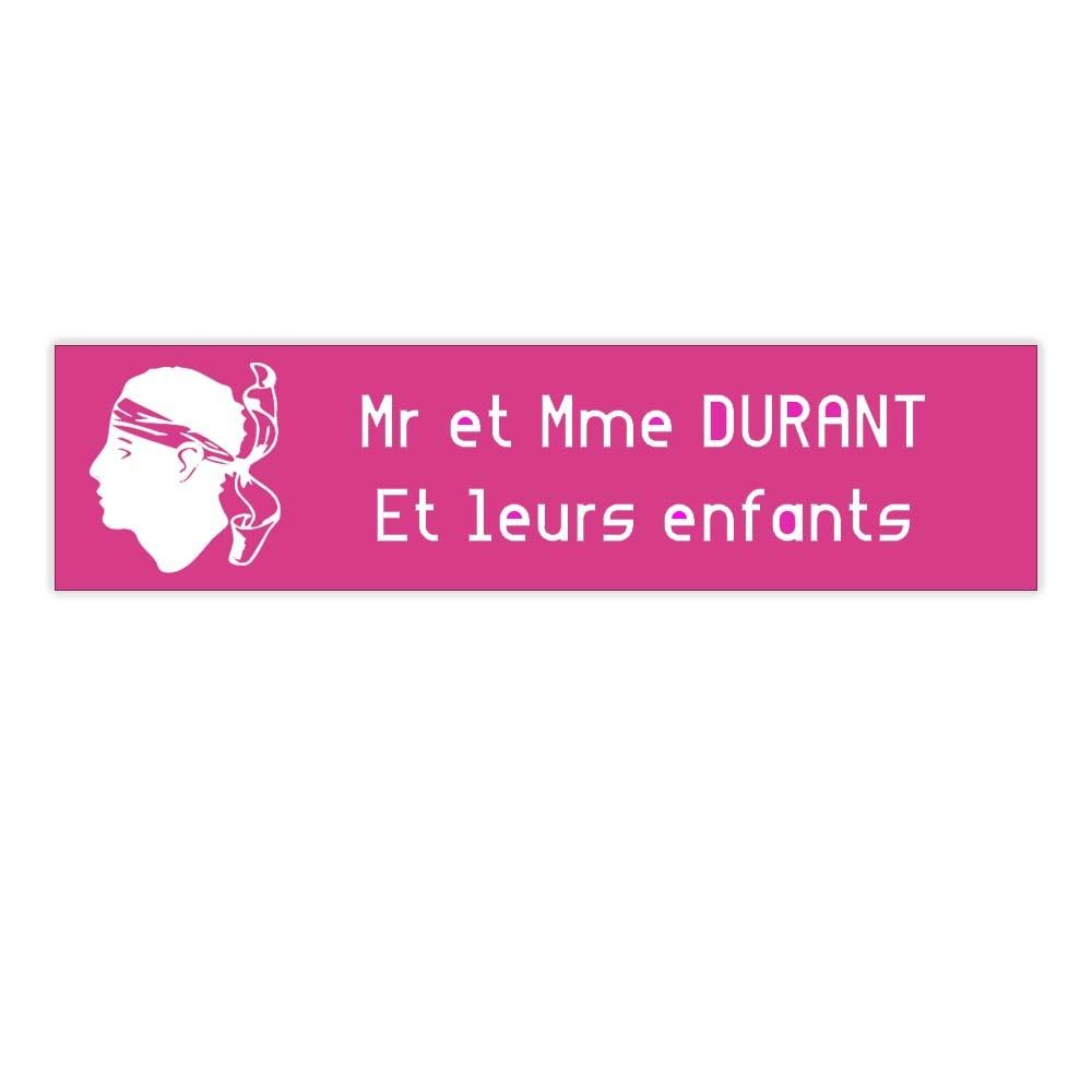 Plaque boite aux lettres Decayeux CORSE (100x25mm) rose lettres blanches - 2 lignes